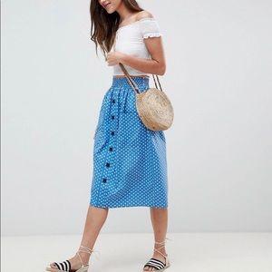 ASOS Petite Polka Dot Midi Skirt 8